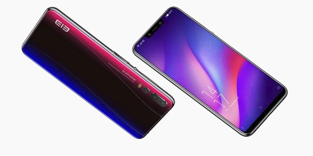 Elephone A5はブルーとパープルが光の当たり具合により変わる。
