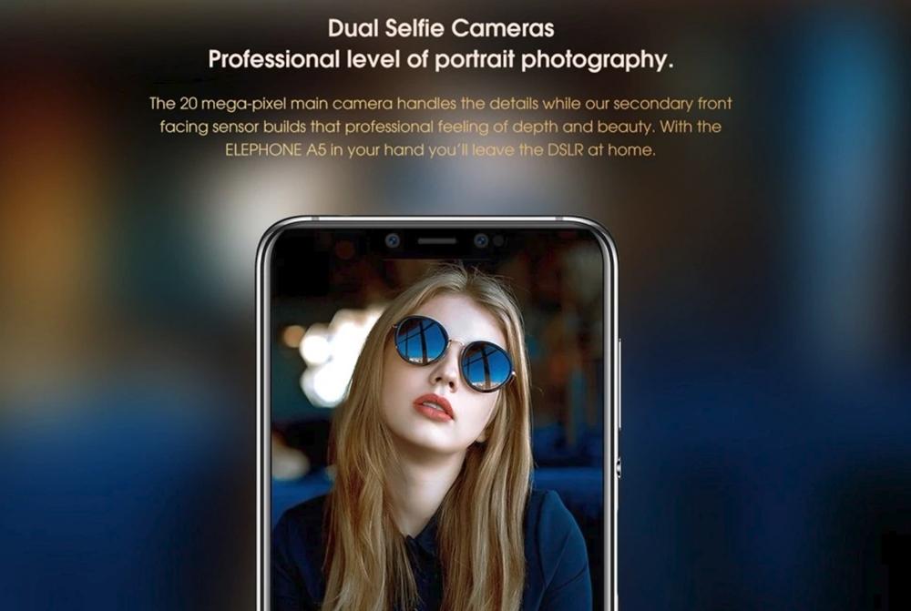 Elephone A5はインカメラもデュアルカメラを搭載。背景ボケ撮影も自撮りで楽しめる。