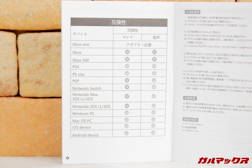 ONIKUMA K6は利用できるデバイスが決まっているので購入前に確認しましょう。