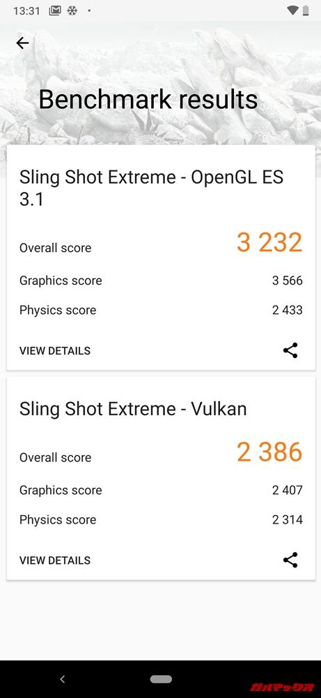 Android One X5の実機3DMarkスコアはOpenGL ES 3.1が3232点、Vulkanが2386点でした!