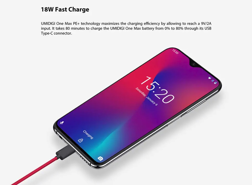 UMIDIGI One Maxは有線接続経由で18Wの超急速充電に対応。