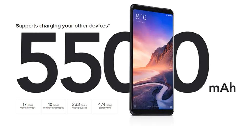 Xiaomi Mi Max 3は5500mAhの大容量バッテリーを搭載。