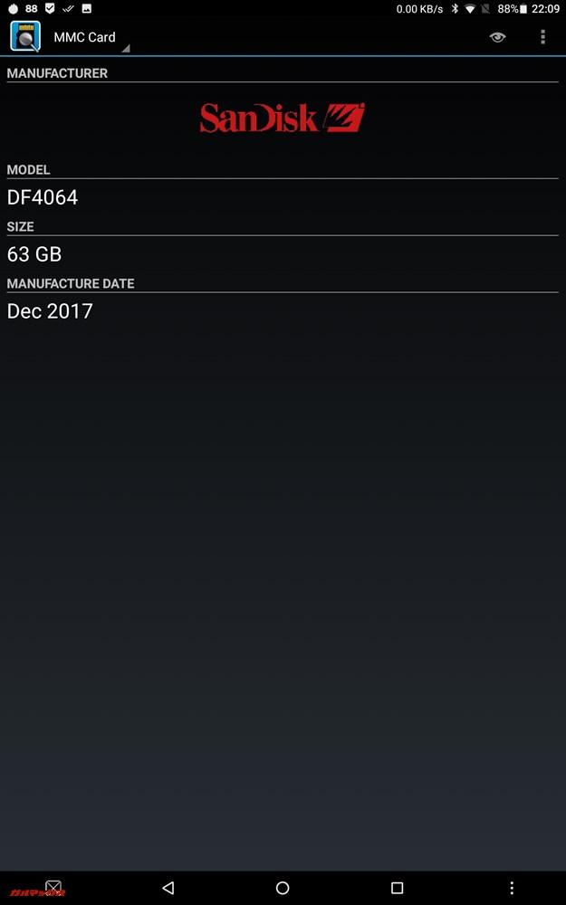 Teclast T20のeMMCにはSanDisk製のDF4064チップを搭載している模様