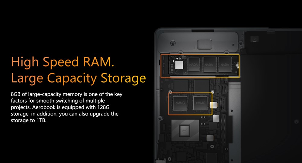 Aerobookのメモリは大容量な8GB、ストレージは高速なSSD 128GBを搭載しています。