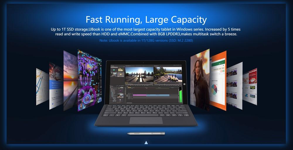 CHUWIUbookは標準の128GB以外に大容量な1TBモデルも選択可能!どちらもSSDです!
