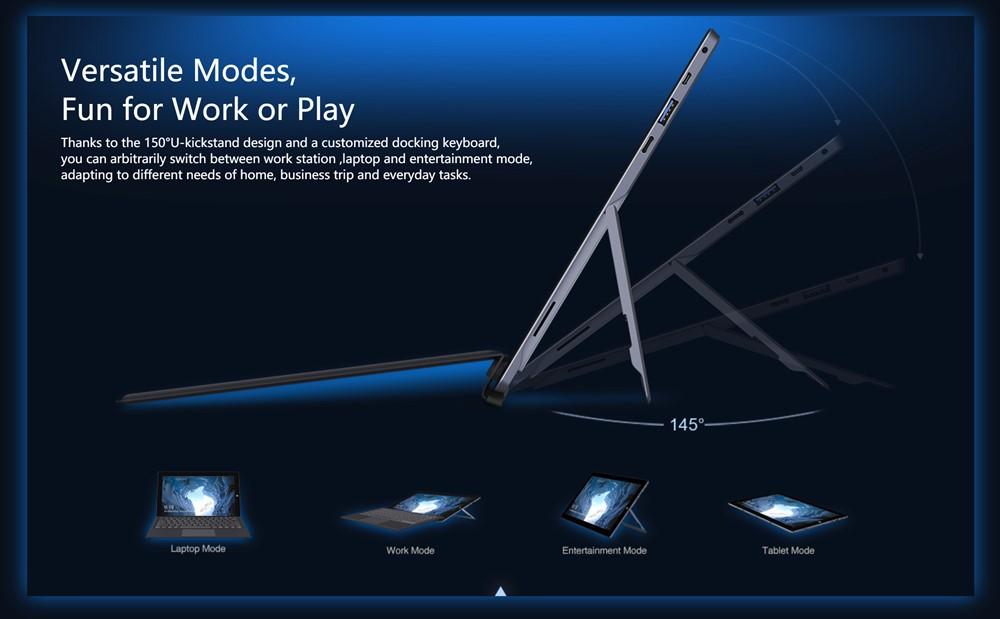 CHUWIUbookはタブレットPCでキックスタンドを搭載しているので様々なスタイルで利用可能です。