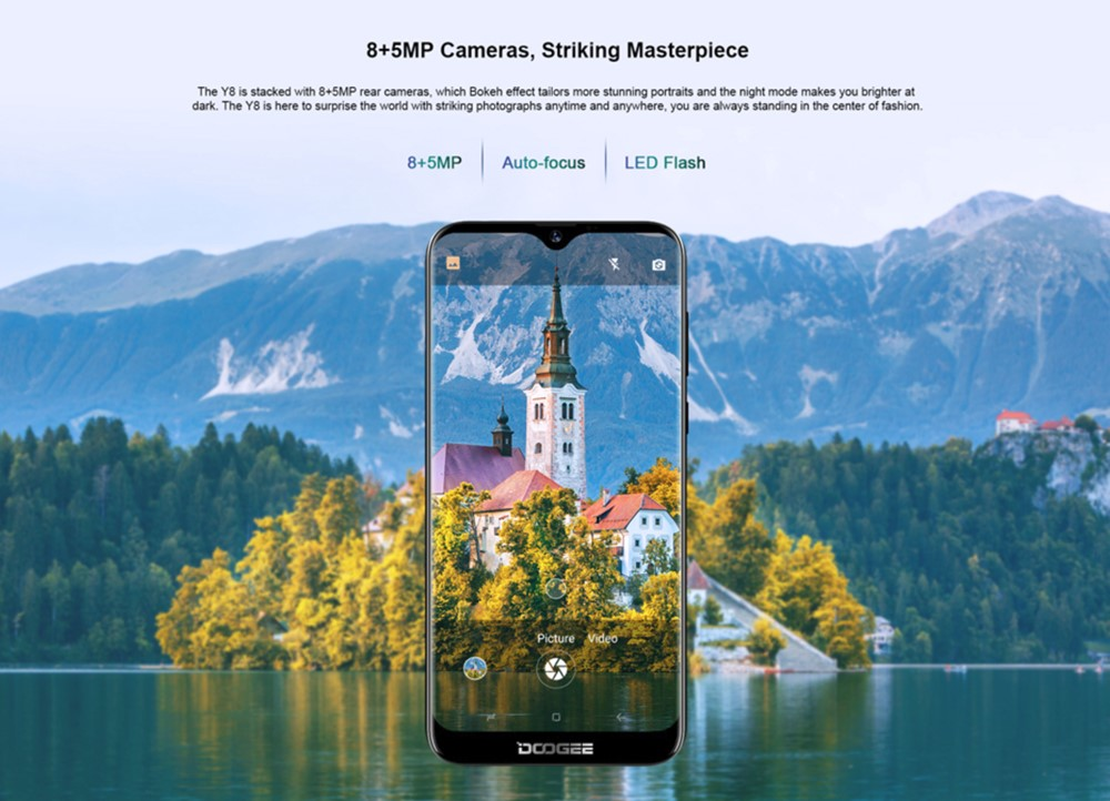 DOOGEE Y8は800万画素+500万画素のデュアルカメラを搭載しています。