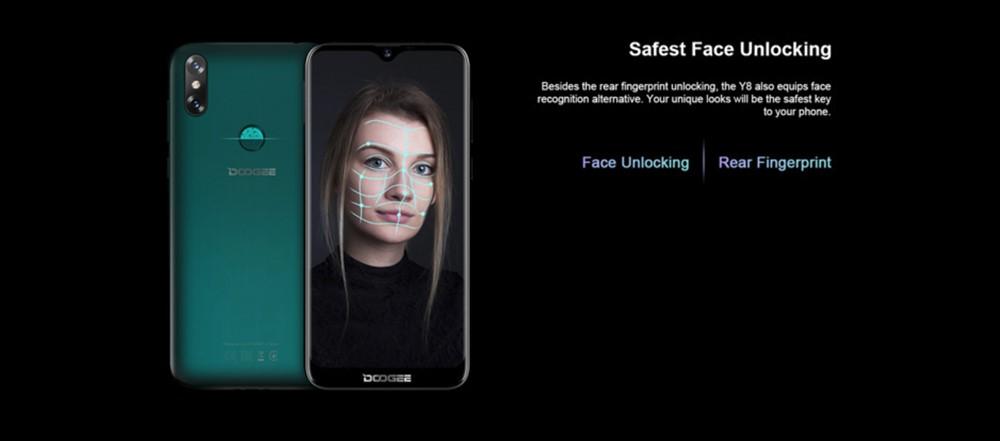 DOOGEE Y8は指紋認証以外に顔認証にも対応しています。