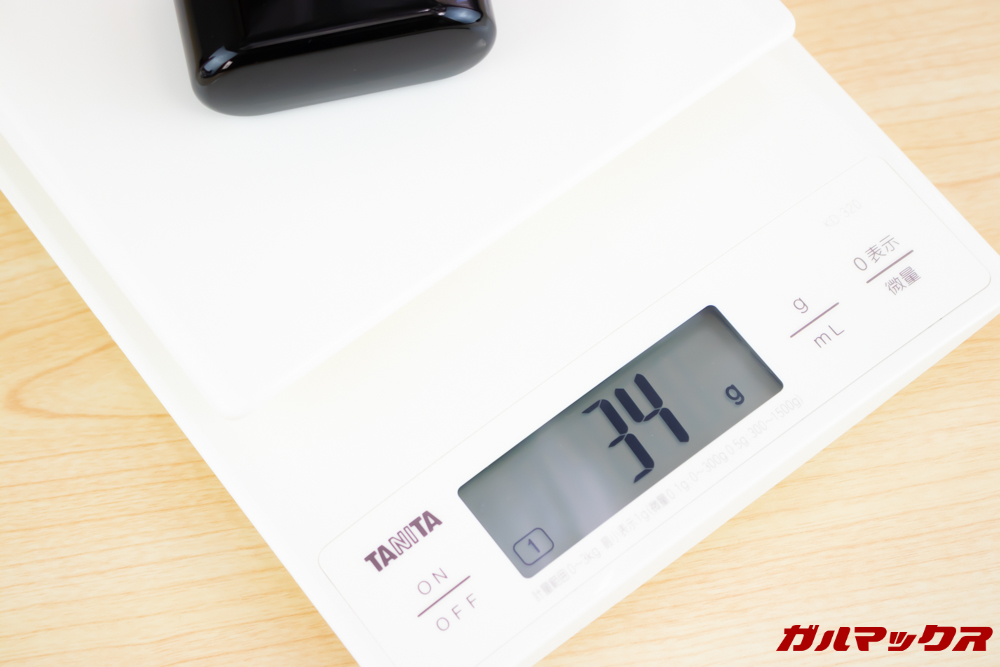 Fozento FT16のケース重量は34gでこちらも軽量です。