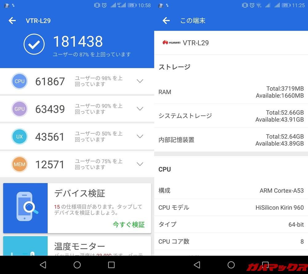 HUAWEI P10(Android 8.0)実機AnTuTuベンチマークスコアは総合が181438点、3D性能が63439点。