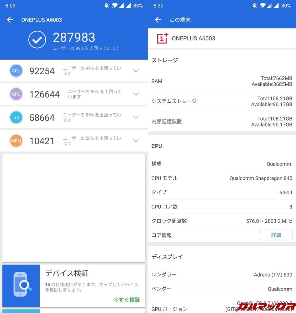 OnePlus 6/RAM 8GB(Android 8.1.0)実機AnTuTuベンチマークスコアは総合が287983点、3D性能が126644点。