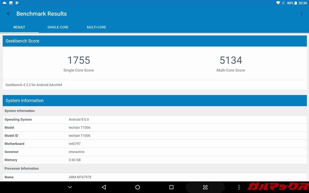 ALLDOCUBE M5Xの実機Geekbench 4スコアは、シングルコア性能が1755点、マルチコア性能が5134点!