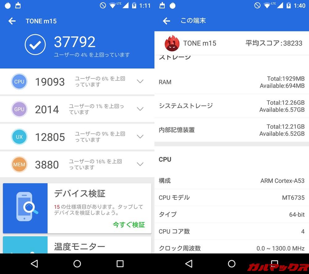 TONE m15(Android 6.1)実機AnTuTuベンチマークスコアは総合が37792点、3D性能が2014点。