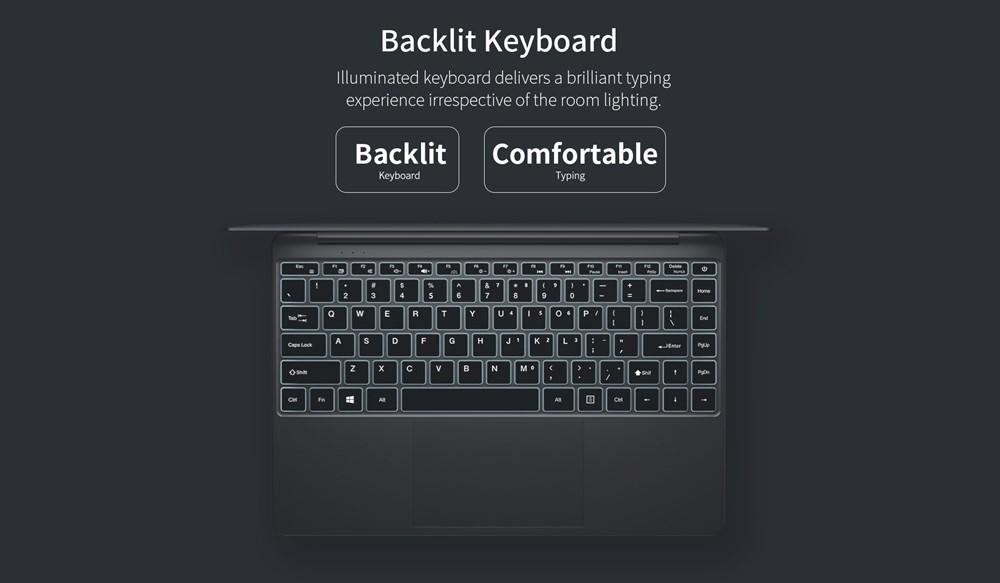 Teclast F7 Plusは薄暗い場所でも操作性を保つことが出来るバックライトキーボードを搭載しています。