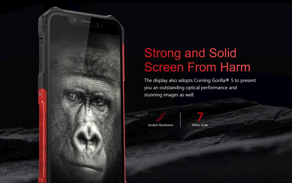 Ulefone Armor 6はgorilla Glass 5を搭載。耐衝撃だけでなく傷つきにくいのも特徴です。