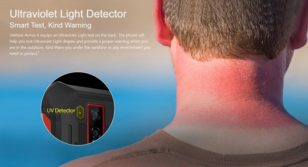Ulefone Armor 6はUVセンサーを備えているので紫外線を測定できます。