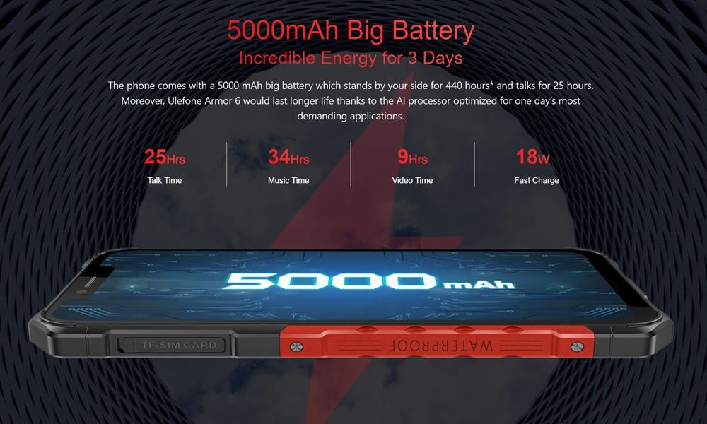 Ulefone Armor 6は5000mAhの大容量バッテリーを搭載しています。