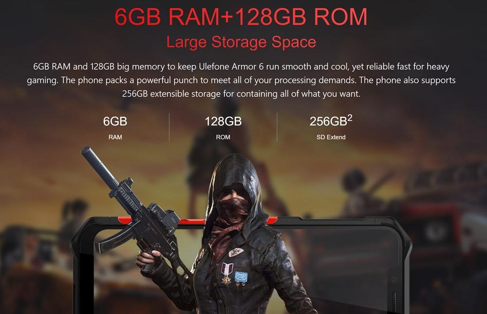 Ulefone Armor 6はメモリ6GB/容量128GBでハイエンド並に大容量です。