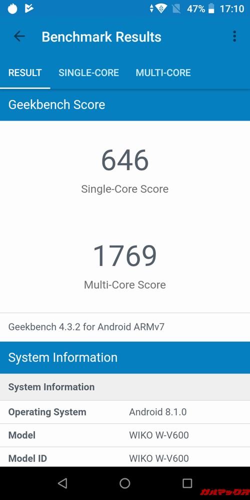 Wiko Tommy3 Plusの実機Geekbench 4のスコアはシングルコア性能が646点、マルチコア性能が1769点でした!