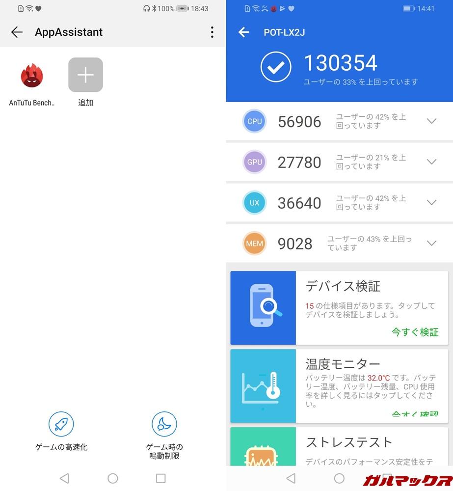 AppAssistantにAnTuTuを追加してベンチマークを測定したところ、総合スコアの向上が確認できた。