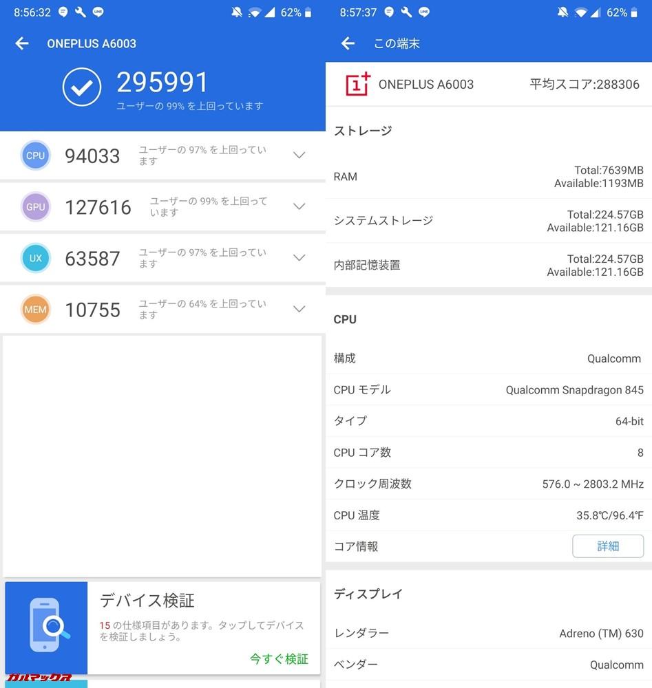 OnePlus 6/RAM 8GB(Android 9)実機AnTuTuベンチマークスコアは総合が295991点、3D性能が127616点。
