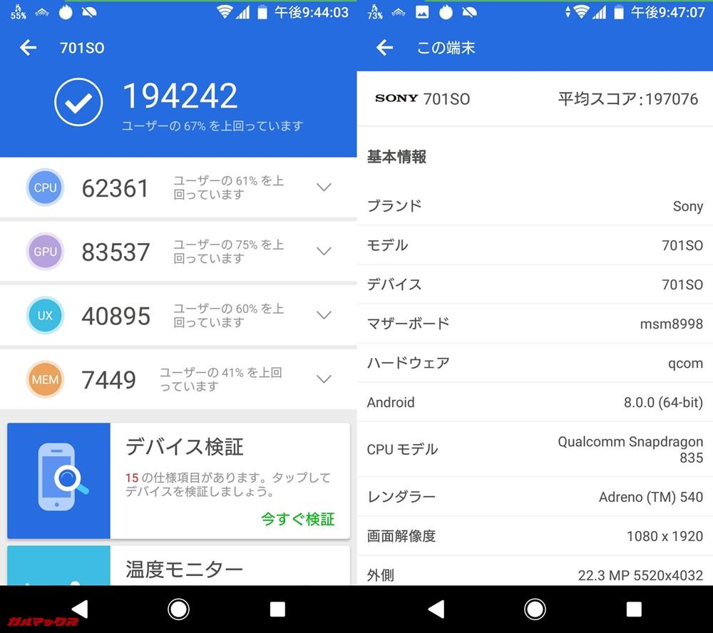 Xperia XZ1(Android 8.0)実機AnTuTuベンチマークスコアは総合が194242点、3D性能が83537点。