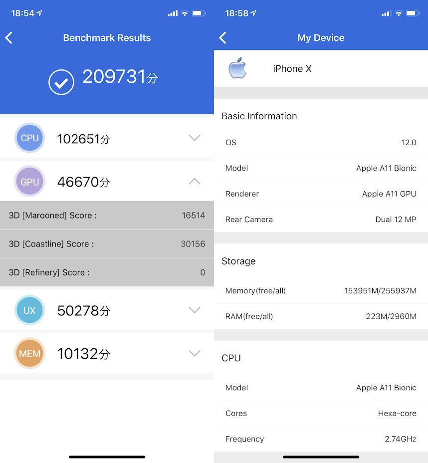 iPhone X(iOS 12)実機AnTuTuベンチマークスコアは総合が209731点、3D性能が46670点。
