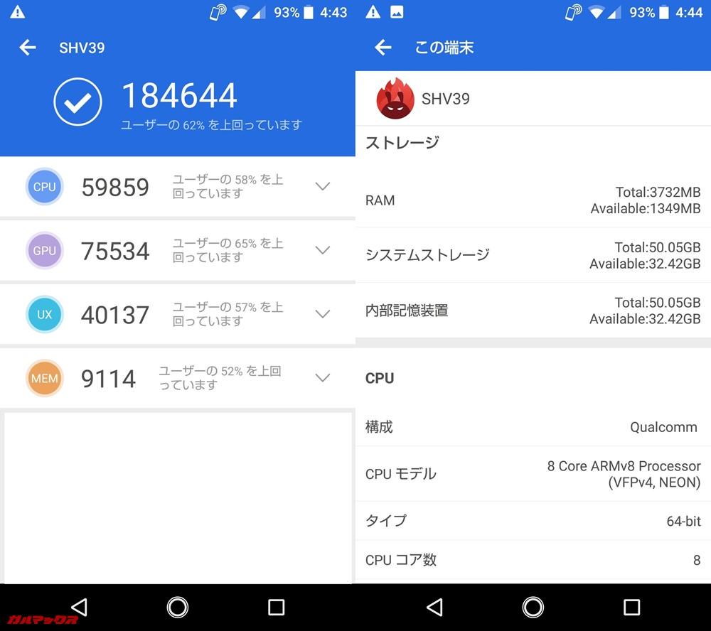AQUOS R SHV39/auモデル(Android 8.0)実機AnTuTuベンチマークスコアは総合が184644点、3D性能が75534点。
