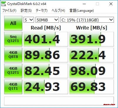 Beelink J45はSSDを搭載しており速度もしっかりSSDクラスです。