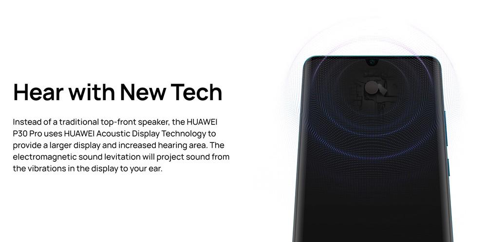 HUAWEI P30 Proは画面上部にスピーカーを内蔵しており、広範囲で音が聞こえるようになっています。