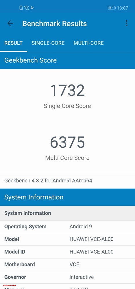 Huawei nova 4のGeekbench 4スコアはシングルコア性能が1732点、マルチコア性能が6375点でした。