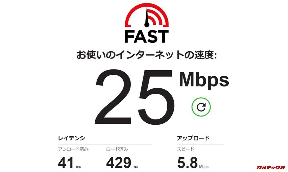 モナWi-Fiはソフトバンク回線を利用しているので昼の時間帯でも通信速度がド安定