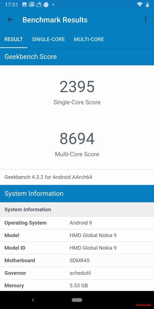Nokia 9 PureViewのGeekbench 4スコアはシングルコア性能が2395点、マルチコア性能が8694点。