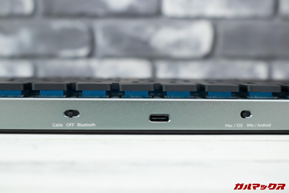 Taptekの本体裏には各種モード切り替えスイッチが備わっています。