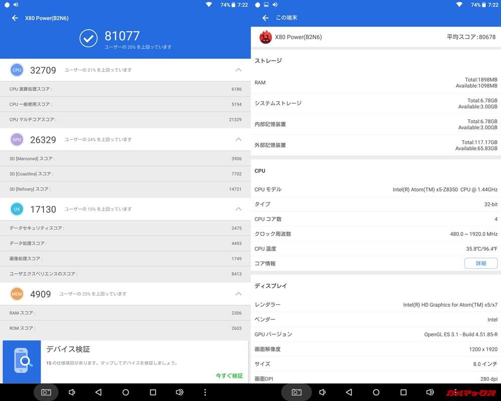 Teclast X80 Power(Android 5.1)実機AnTuTuベンチマークスコアは総合が81077点、3D性能が26329点。