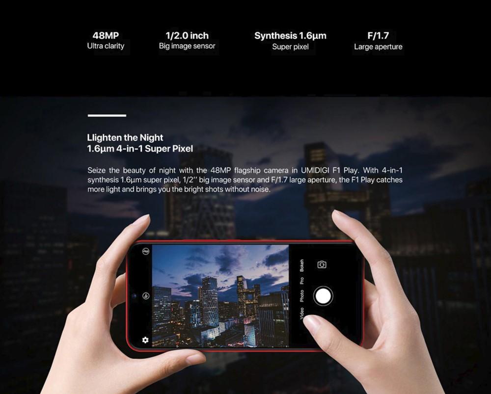 UMIDIGI F1 Playは夜間撮影でもノイズの少ない写真を撮影出来るとしています。
