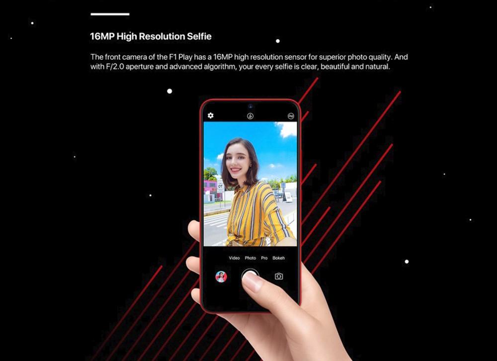 UMIDIGI F1 Playもインカメラに高精細な1600万画素カメラを採用しているので自撮りも高精細な写真を撮影出来ます。