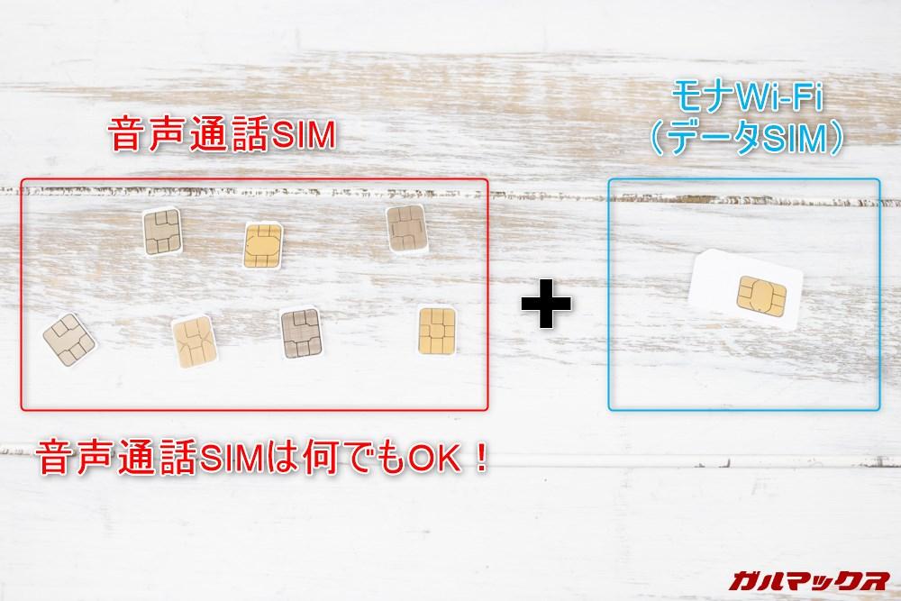 モナWi-Fiと組み合わせる音声通話SIMは任意のスマホでOK