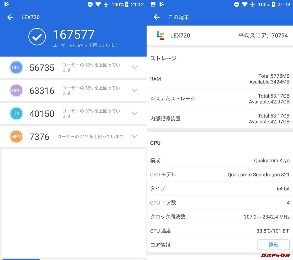 LeEco Le Pro 3-LEX720(Android 8.1)実機AnTuTuベンチマークスコアは総合が167577点、3D性能が63316点。