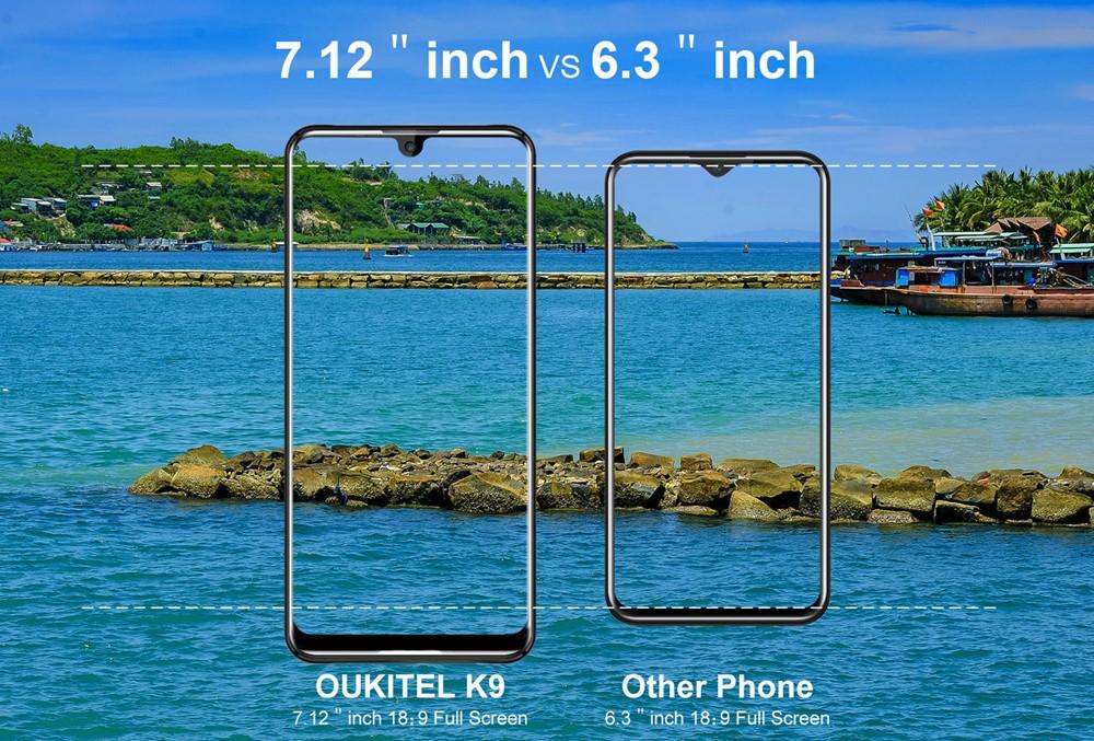 OUKITEL K9は6インチクラスと比較すると非常に筐体が大きいです。