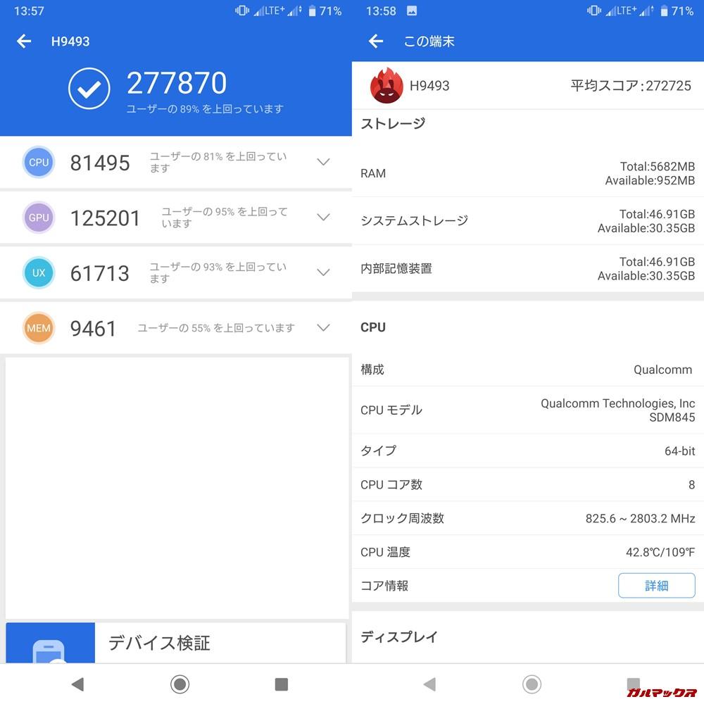 Xperia XZ3/H9493(Android 9)実機AnTuTuベンチマークスコアは総合が277870点、3D性能が125201点。