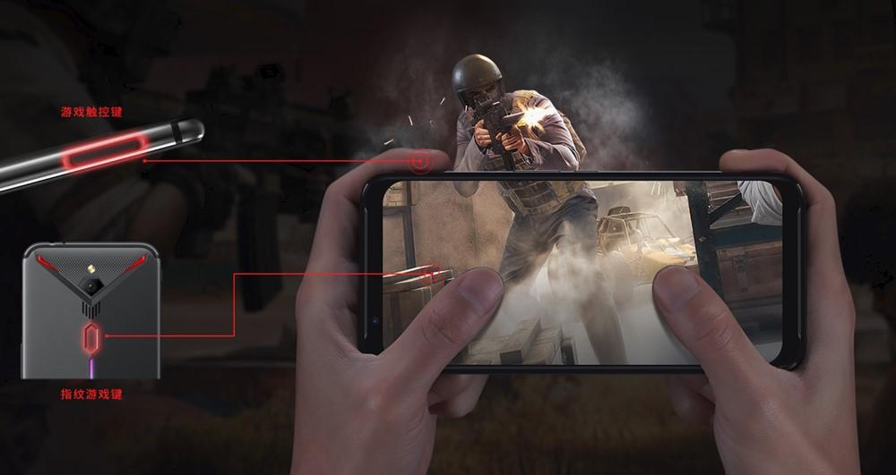 nubia Red Magic 3は仮想キーを本体に埋め込んでいる。