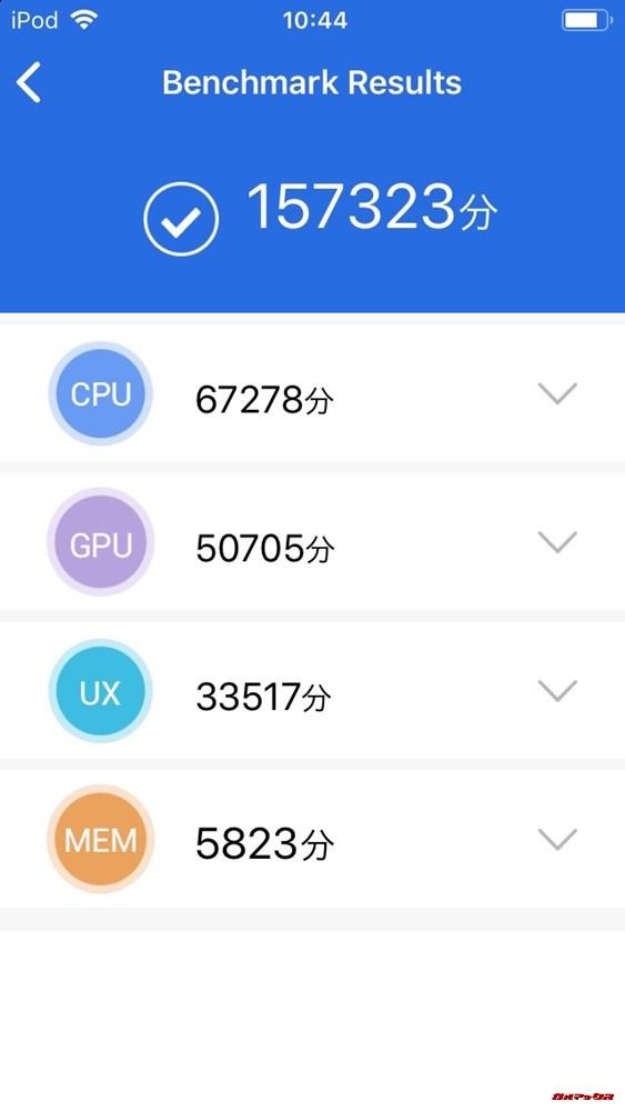 iPod touch 第7世代(iOS 12)実機AnTuTuベンチマークスコアは総合が157323点、3D性能が50705点。