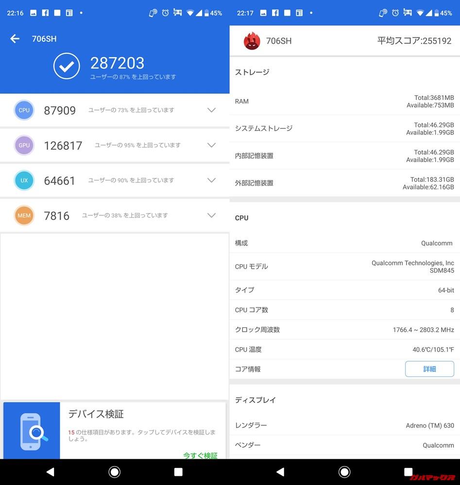 AQUOS R2(Android 9)実機AnTuTuベンチマークスコアは総合が287203点、3D性能が126817点。