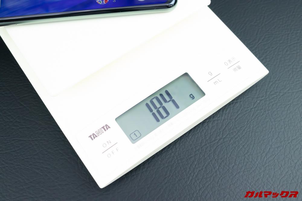 AQUOS R3の重量は184g
