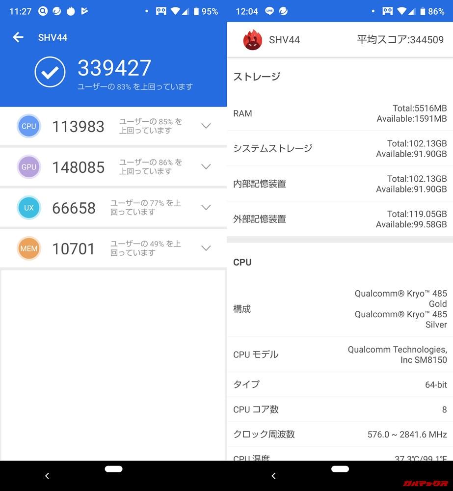 AQUOS R3(Android 9)実機AnTuTuベンチマークスコアは総合が339427点、3D性能が148085点。