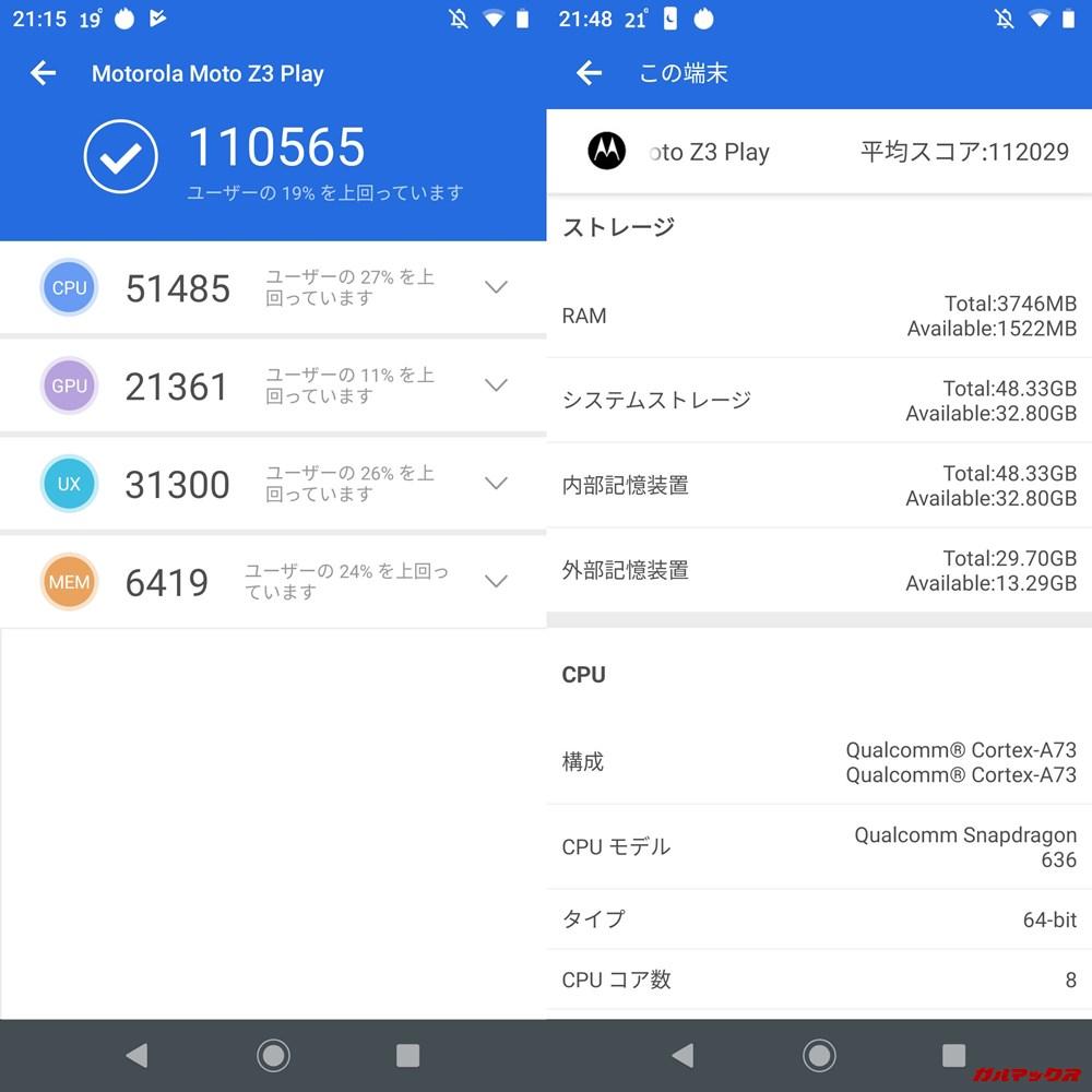 Moto Z3 Play(Android 9)実機AnTuTuベンチマークスコアは総合が110565点、3D性能が21361点。