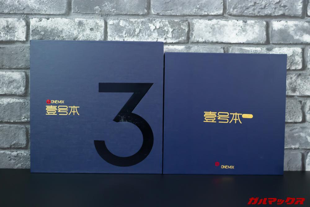 OneMix 3の外箱は筐体サイズが大きくなったので箱も大きくなった。