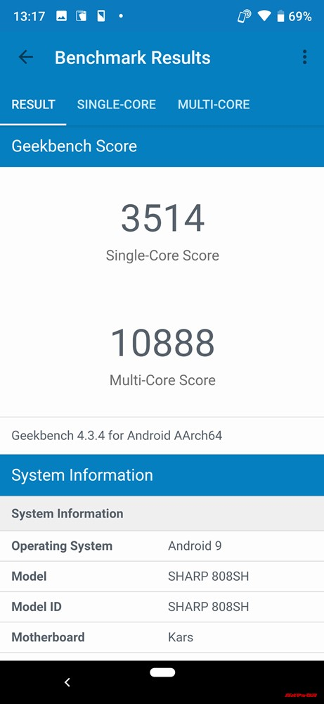 AQUOS R3の実機Geekbench 4スコアはシングルコアが3514点、マルチコアが10888点!