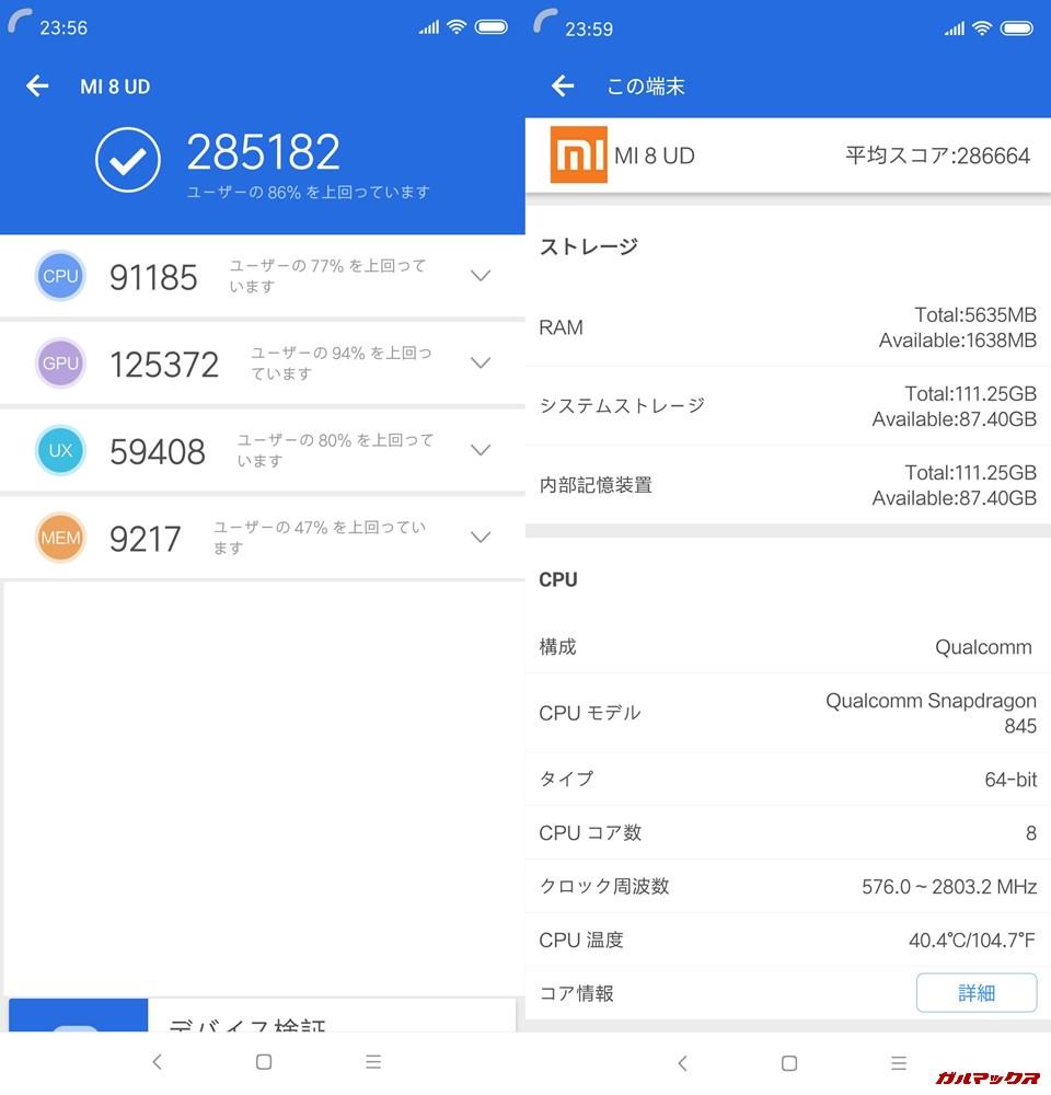 Xiaomi Mi 8実機AnTuTuベンチマークスコアは総合が285182点、3D性能が125372点。